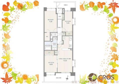 室内明るく風通しの良い東南角住戸。廊下、リビングの収納やウォ